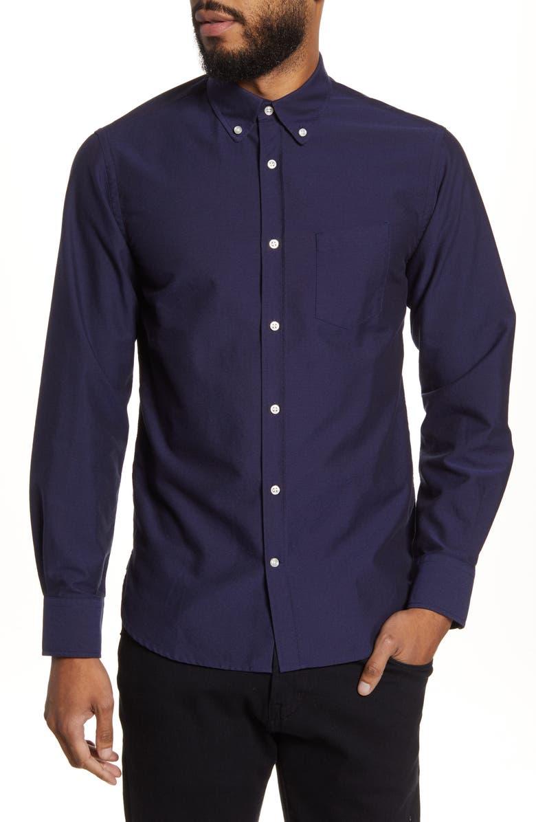 OFFICINE GÉNÉRALE Antime Slim Fit Solid Oxford Button-Down Shirt, Main, color, NAVY