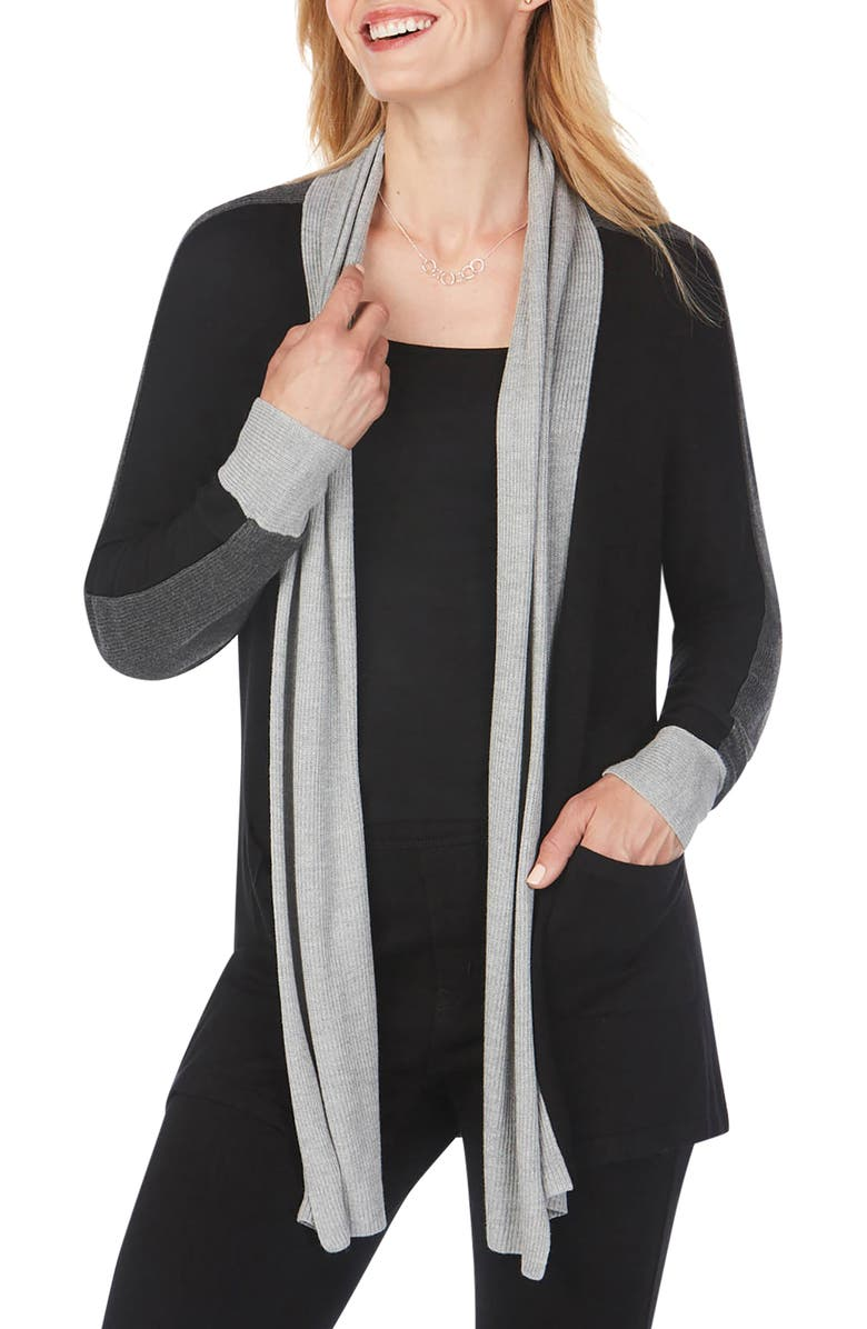 FOXCROFT Reede Colorblock Cardigan, Main, color, BLACK