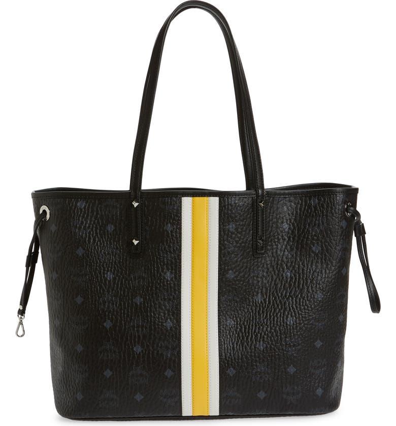 MCM Medium Reversible Shopper & Pouch, Main, color, BLACK