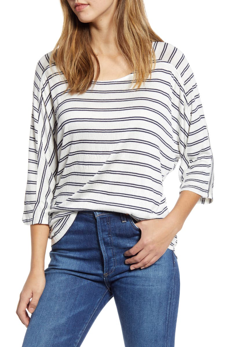 BOBEAU Stripe Dolman Sleeve Top, Main, color, 486