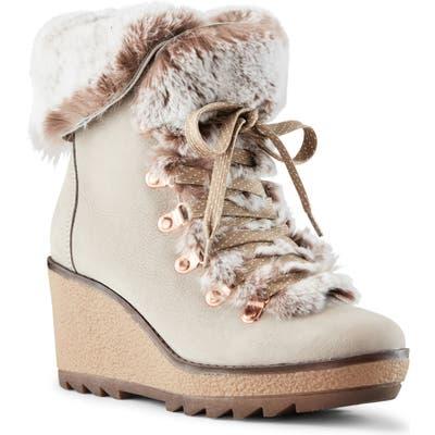 Cougar Penelope Genuine Rabbit Fur Trim Waterproof Lace-Up Boot, Grey