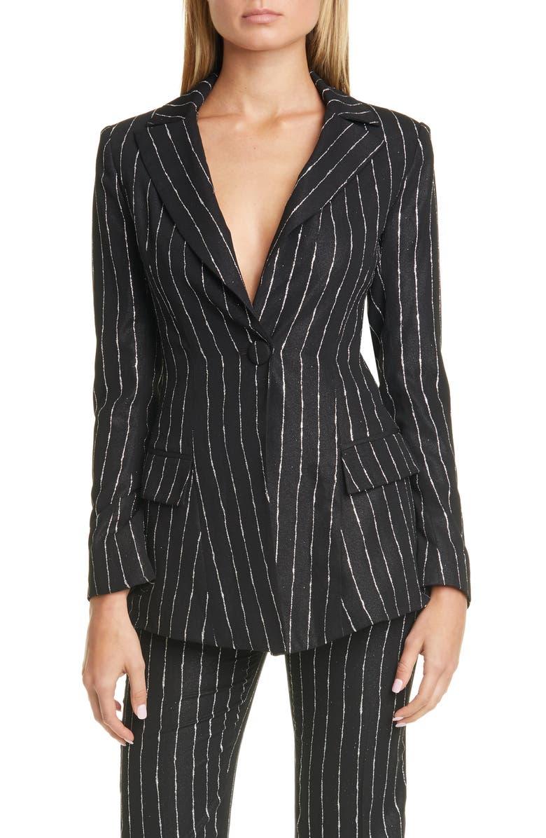 CHRISTIAN SIRIANO Solstice Stripe Jacket, Main, color, BLACK