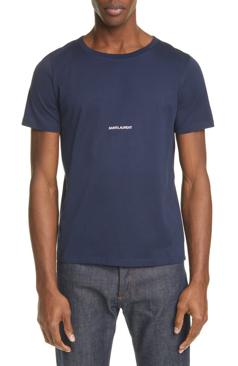 SAINT LAURENT Gauche Logo T-Shirt, Main, color, NAVY