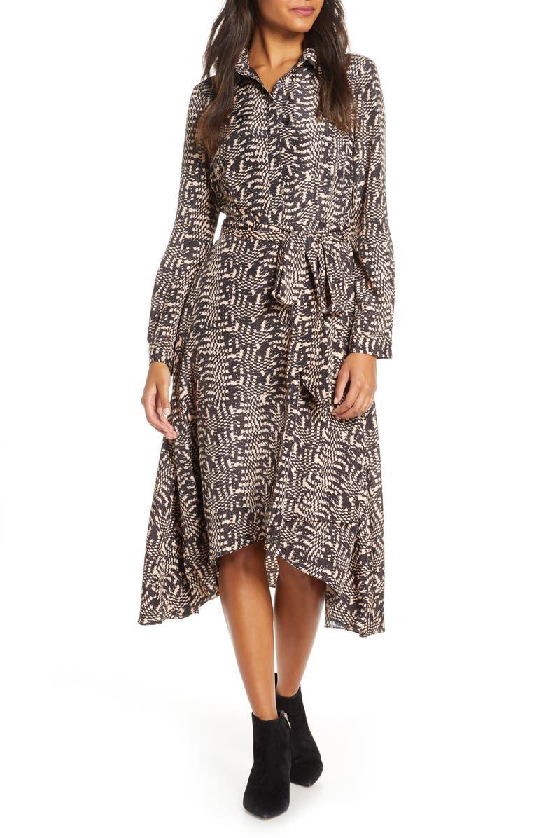 DONNA RICCO Long Sleeve Geo Print Shirtdress, Main, color, TAN/ BLACK