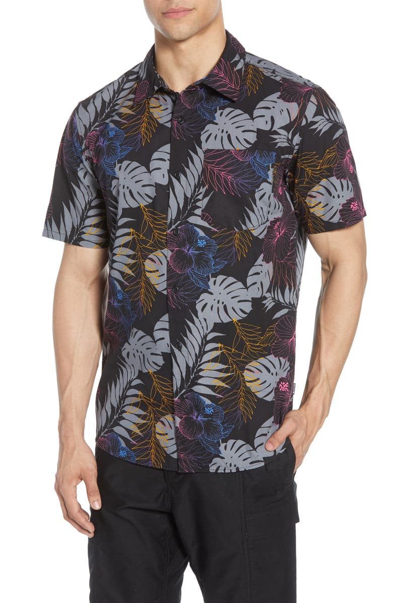 HURLEY Tropicalia Floral Short Sleeve Button-Up Shirt, Main, color, 010