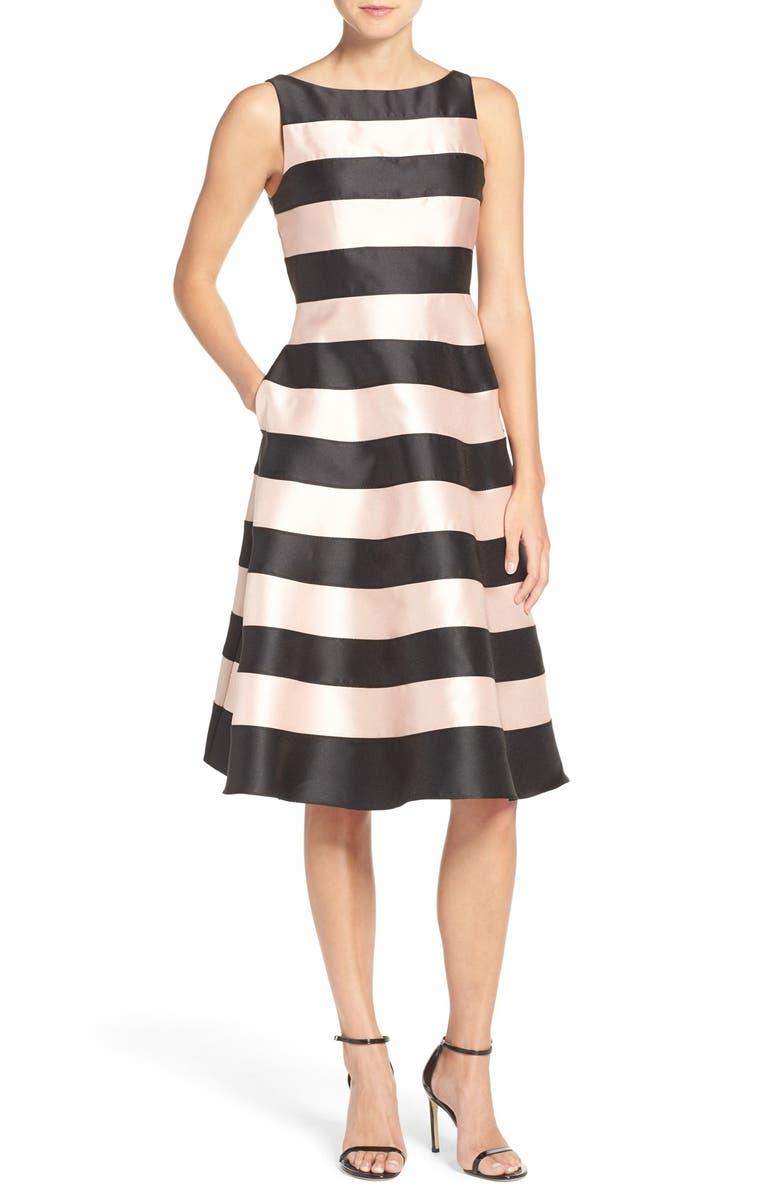 ADRIANNA PAPELL Stripe Mikado Midi Dress, Main, color, 004