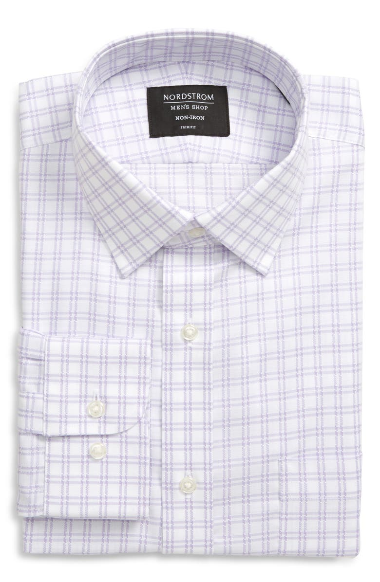 NORDSTROM MEN'S SHOP Trim Fit Non-Iron Solid Dress Shirt, Main, color, PURPLE SPRAY