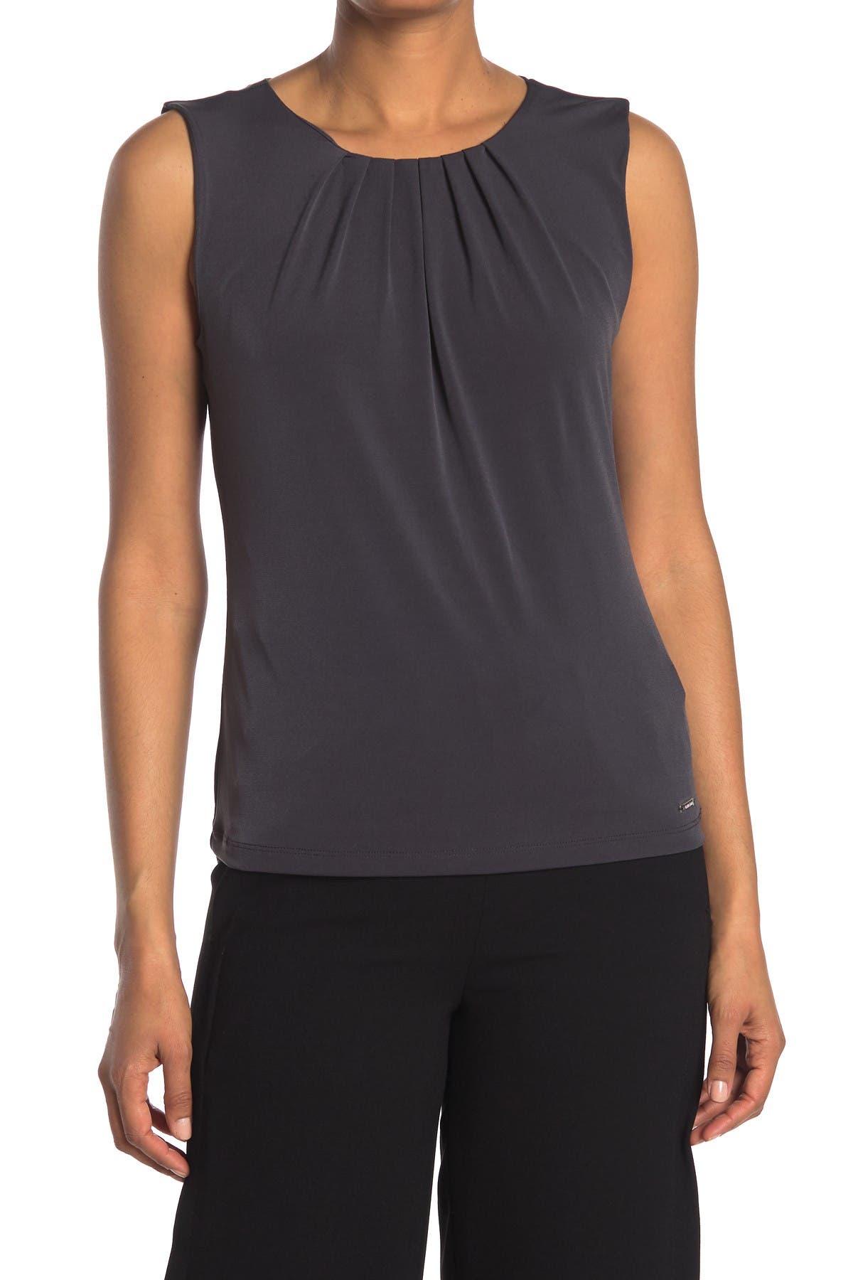 Image of Calvin Klein Sleeveless Pleated Top