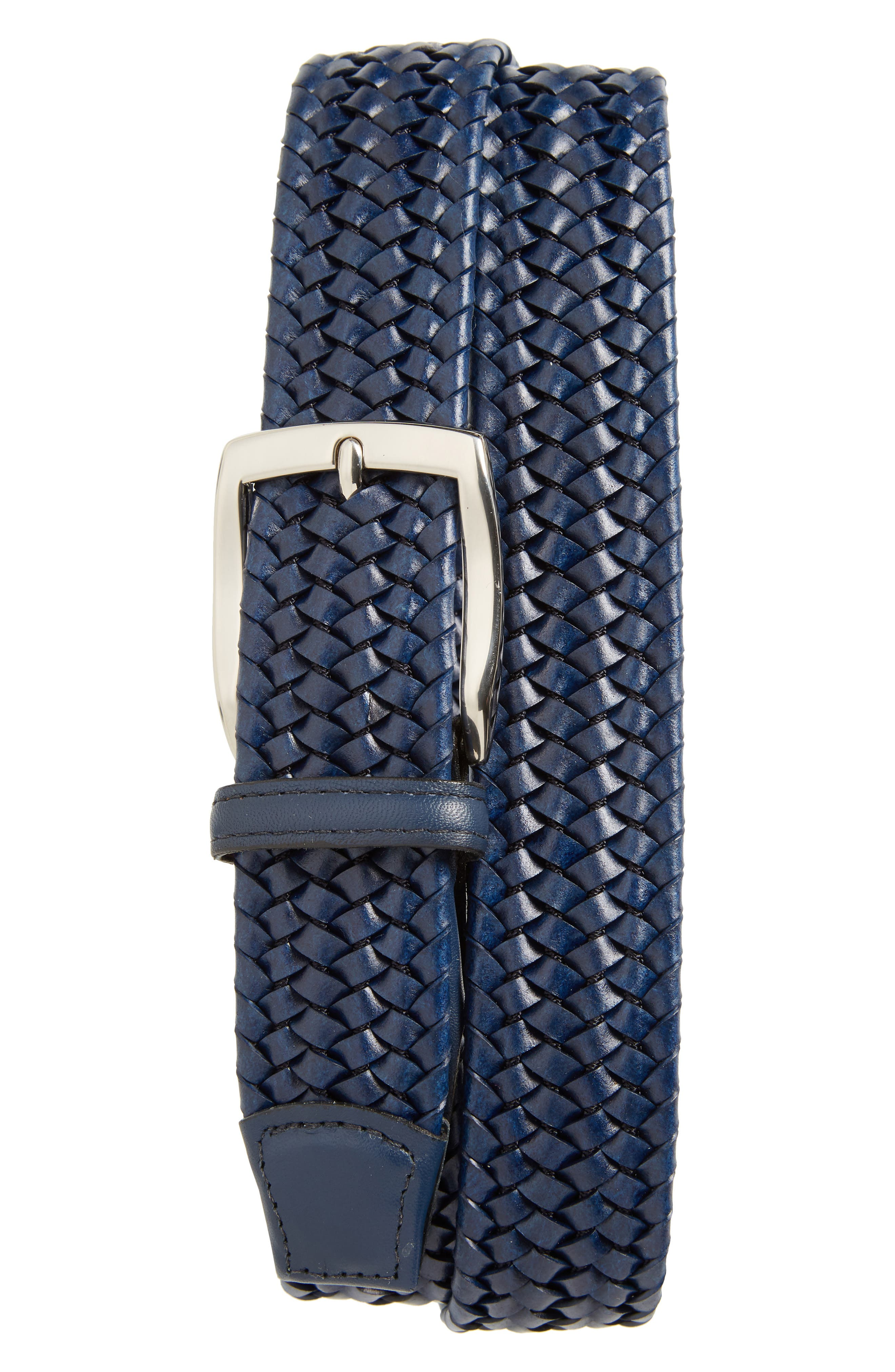 Stretchy woven construction means a flexible fit for an American-made belt with high-shine hardware. Style Name: Torino Woven Stretch Leather Belt. Style Number: 5834332. Available in stores.