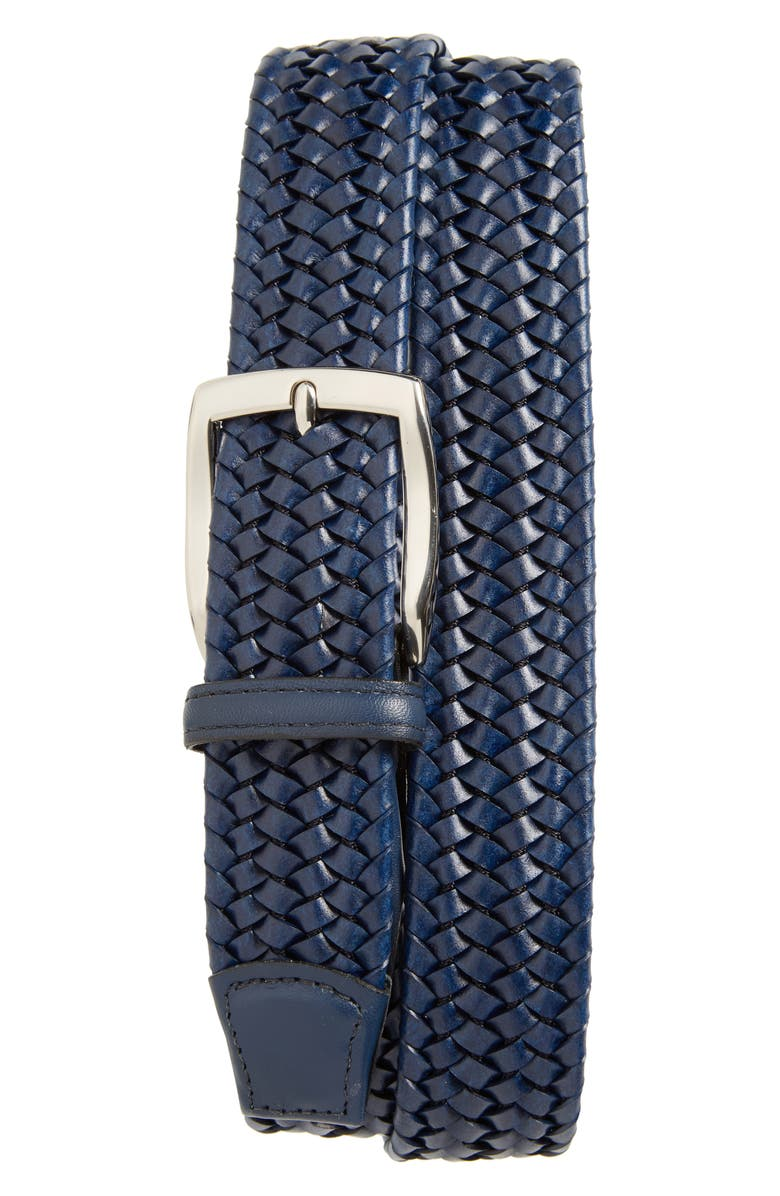 TORINO Woven Stretch Leather Belt, Main, color, NAVY