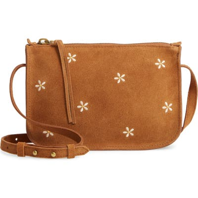 Madewell The Simple Daisy Embroidered Suede Crossbody Bag - Brown