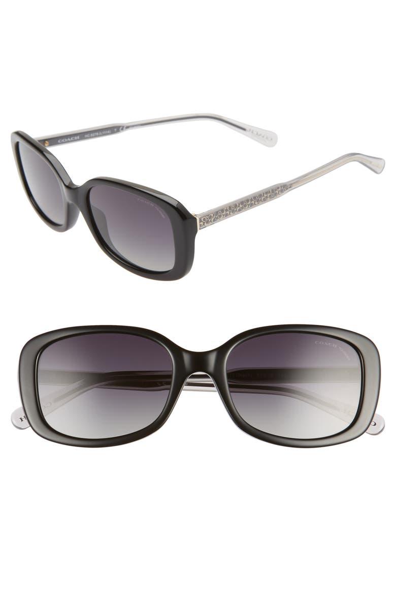 COACH 53mm Polarized Rectangle Sunglasses, Main, color, 001
