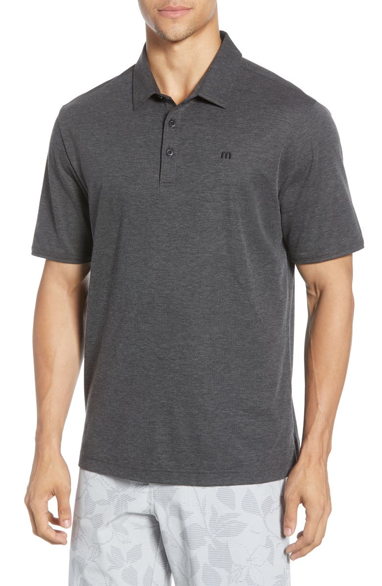 TRAVISMATHEW Classy Regular Fit Jersey Polo, Main, color, 001