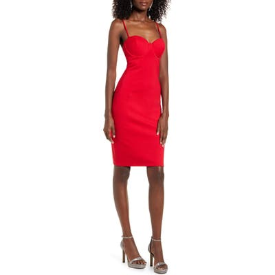 Leith Corset Sheath Dress, Red