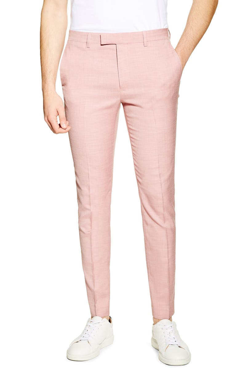 TOPMAN Skinny Fit Suit Dress Pants, Main, color, PINK