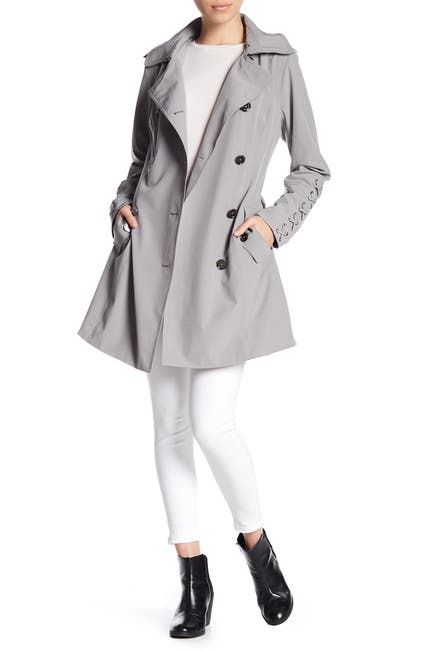 Image of MICHAEL Michael Kors Lace Up Sleeve Trench Coat