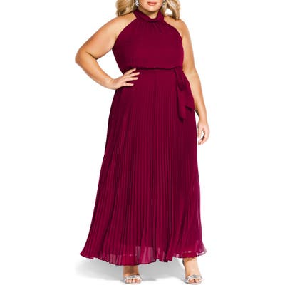 Plus Size City Chic Honour Maxi Dress, Burgundy