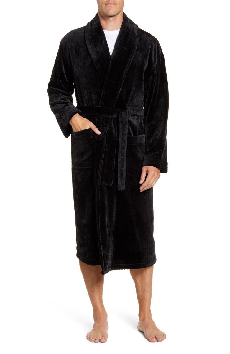 MAJESTIC INTERNATIONAL Snowball Plush Robe, Main, color, BLACK