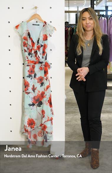 Floral Ruffle High/Low Wrap Dress, sales video thumbnail