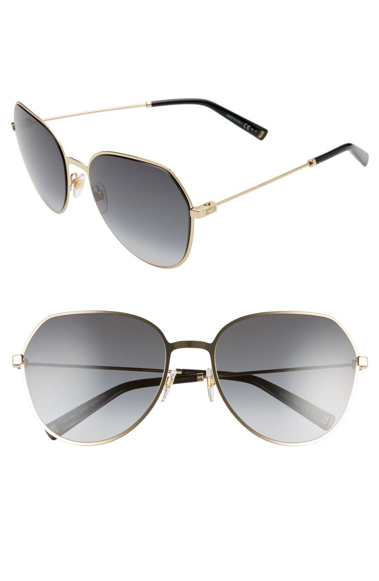 GIVENCHY 60mm Gradient Sunglasses, Main, color, GOLD/ DARK GREY