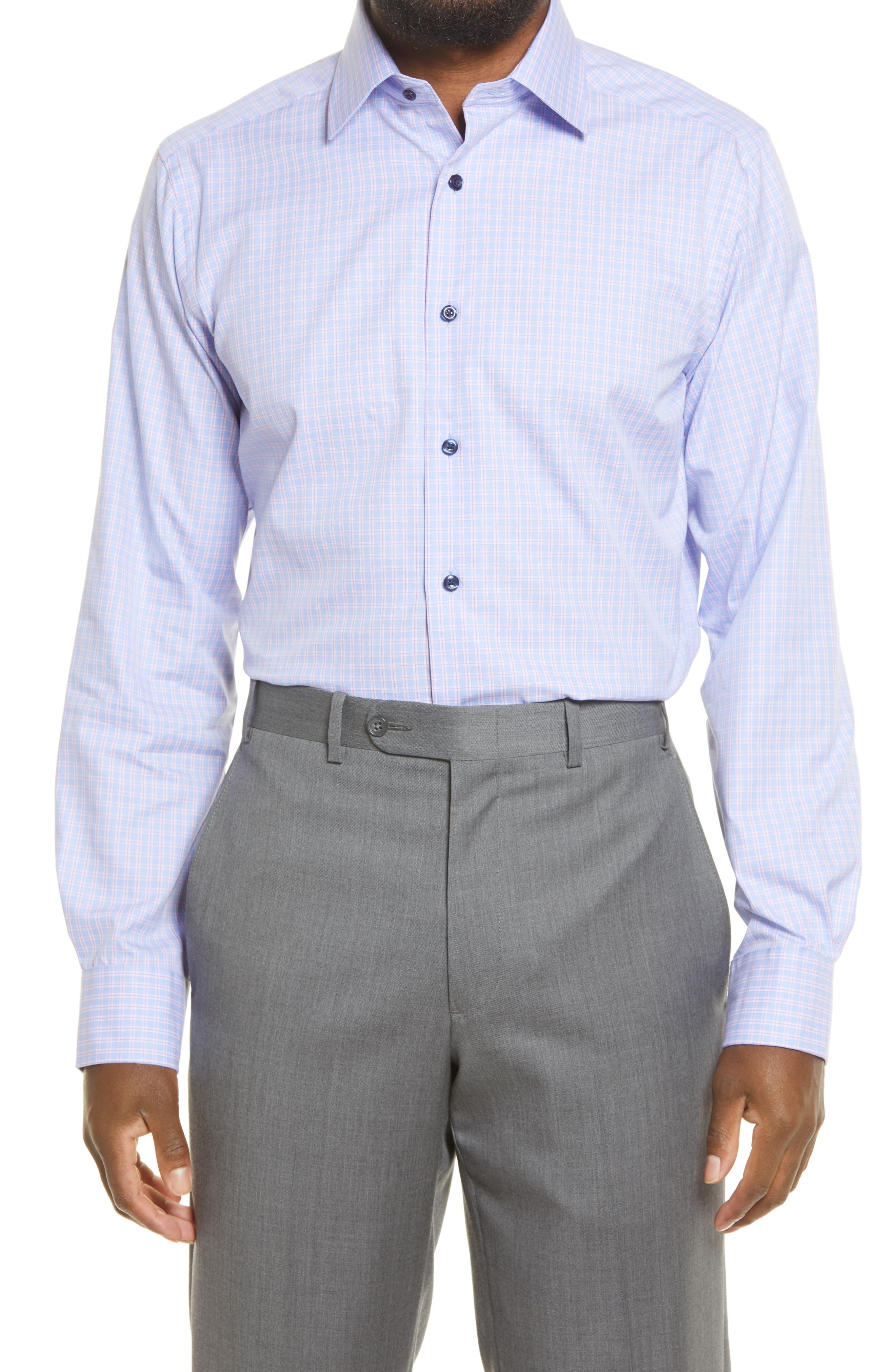 Trim Fit Jaspe Plaid Dress Shirt
