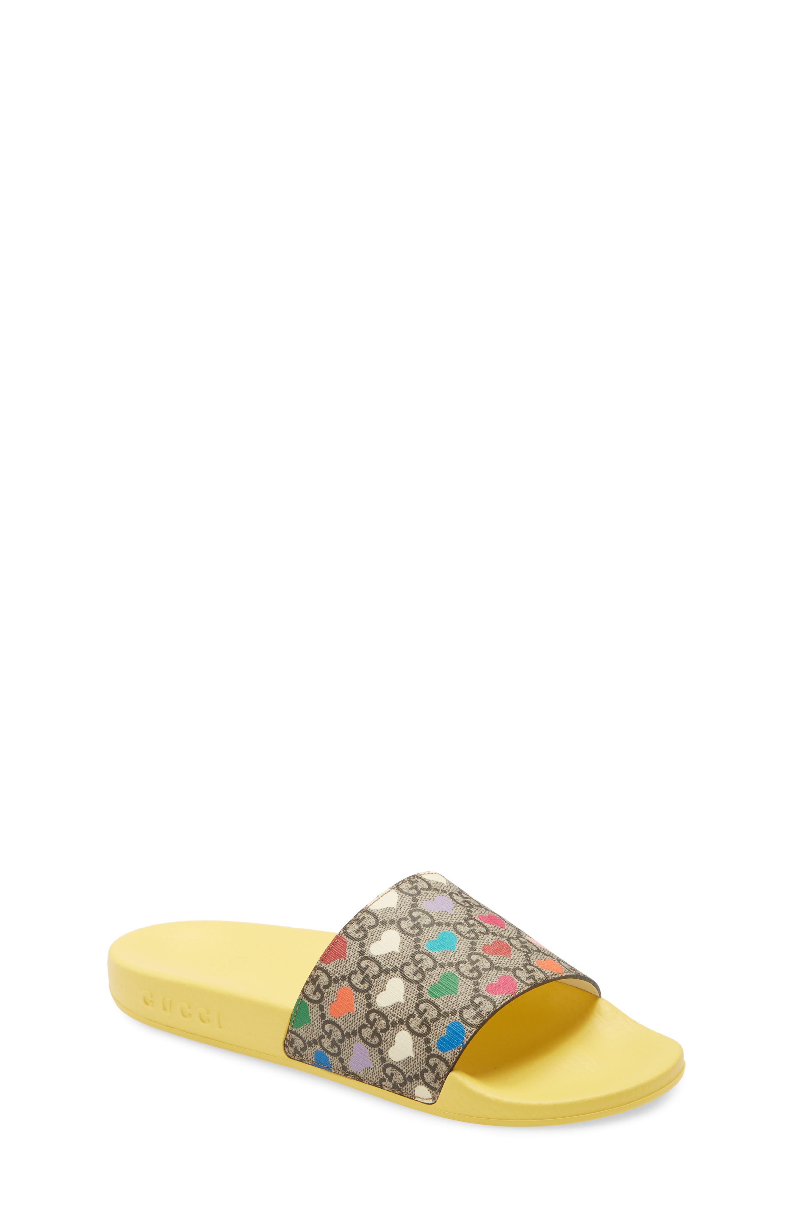 Gucci GG Hearts Slide Sandal (Big Kid