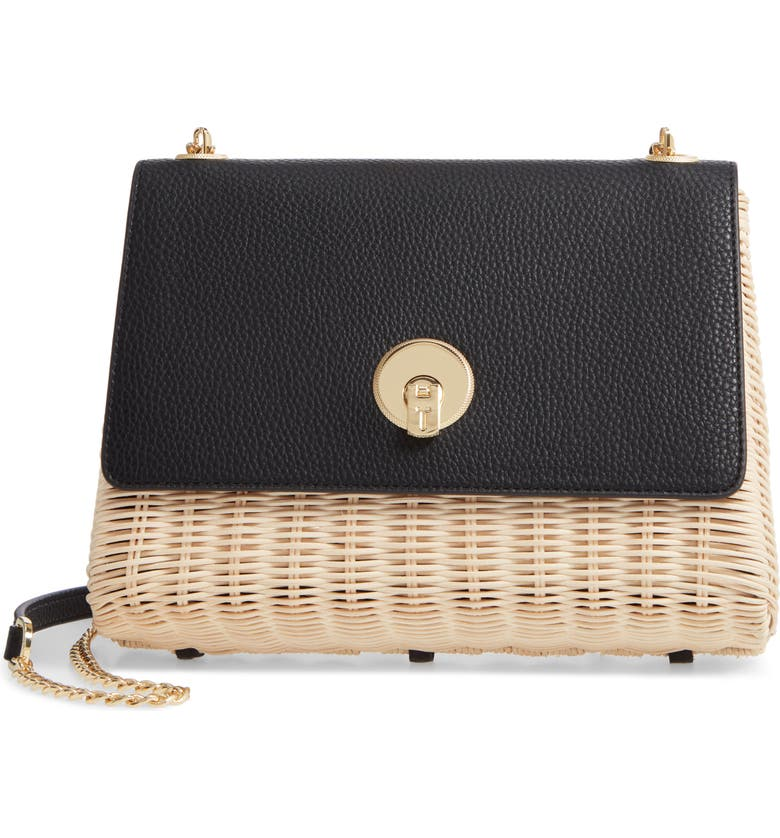 TED BAKER LONDON Elava Wicker & Leather Crossbody Bag, Main, color, 001