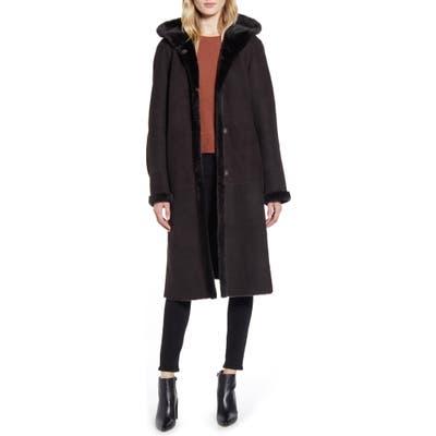 Hiso Zinnia Reversible Hooded Genuine Shearling Coat, Brown