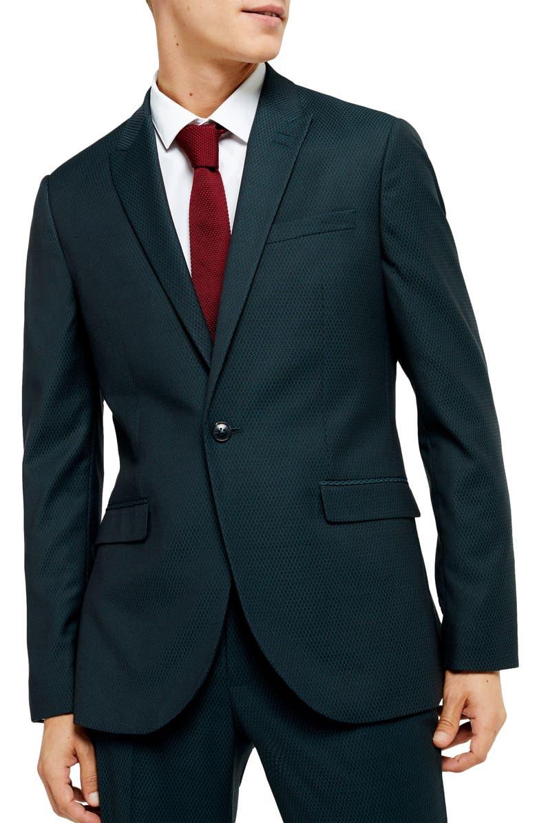 TOPMAN Maverick Skinny Fit Suit Jacket, Main, color, BLUE