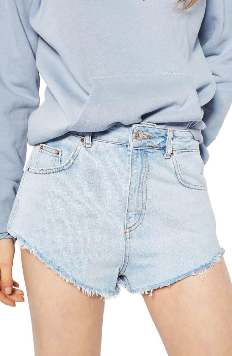 TOPSHOP Kiri Cutoff Denim Shorts, Main, color, 420