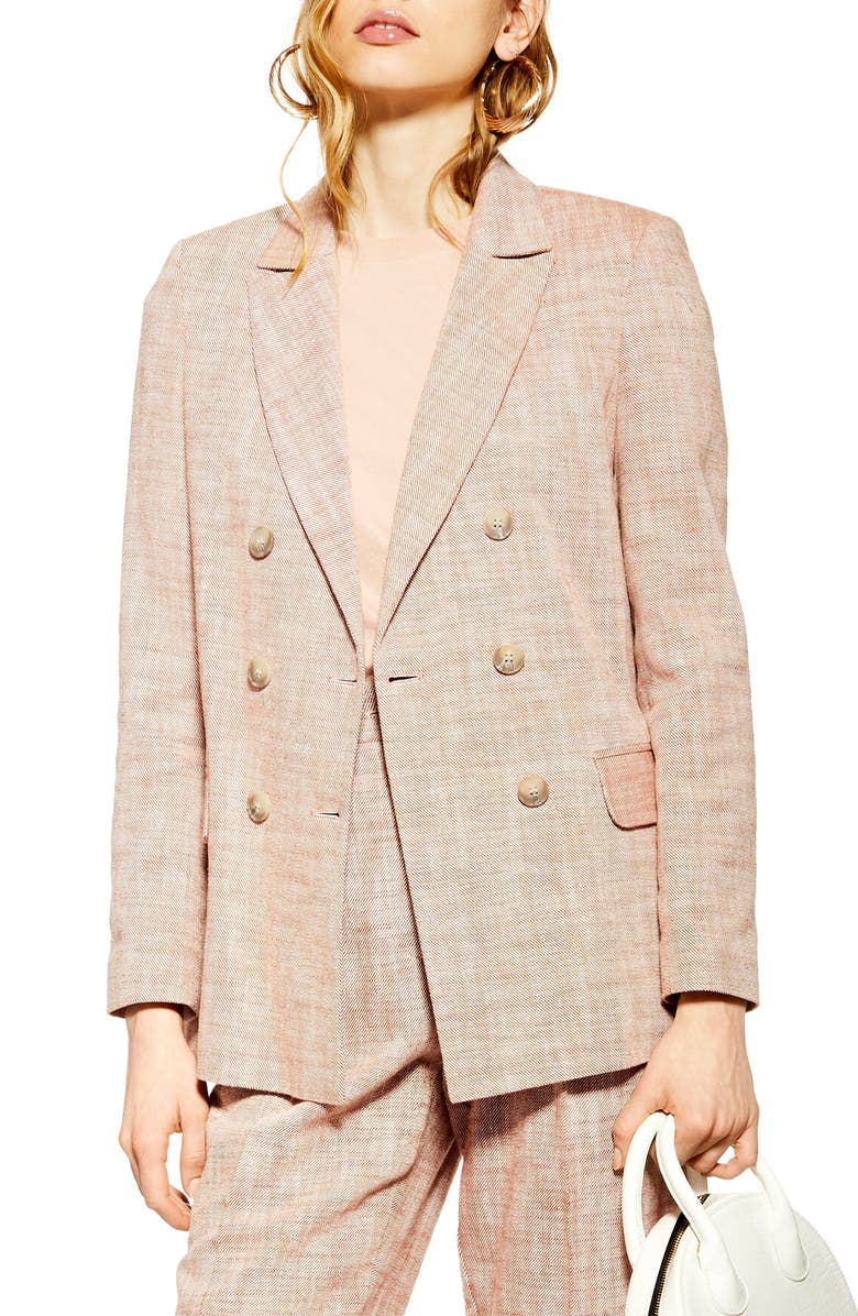 TOPSHOP Marl Double Breasted Blazer, Main, color, RUST