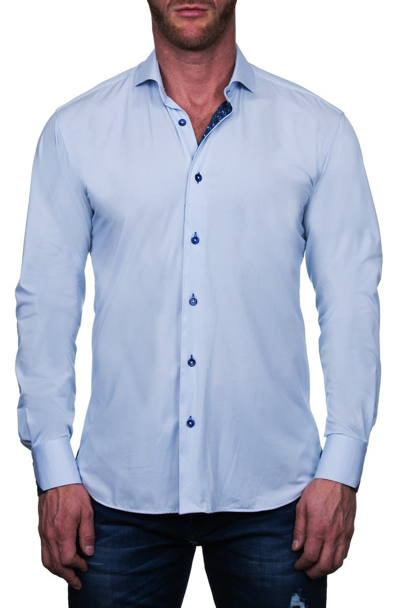 MACEOO Einstein Regular Fit Perforated Button-Up Shirt, Main, color, BLUE