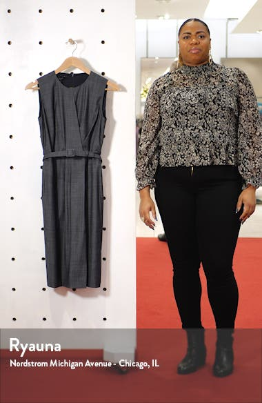 Jude Belted Faux Wrap Wool Blend Dress, sales video thumbnail