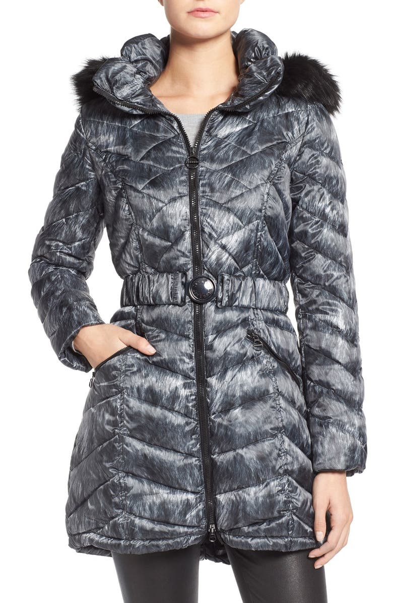 LAUNDRY BY SHELLI SEGAL Quilted Print Coat with Faux Fur Trim, Main, color, 002