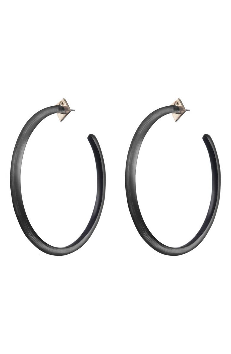 ALEXIS BITTAR Large Skinny Hoop Earrings, Main, color, BLACK