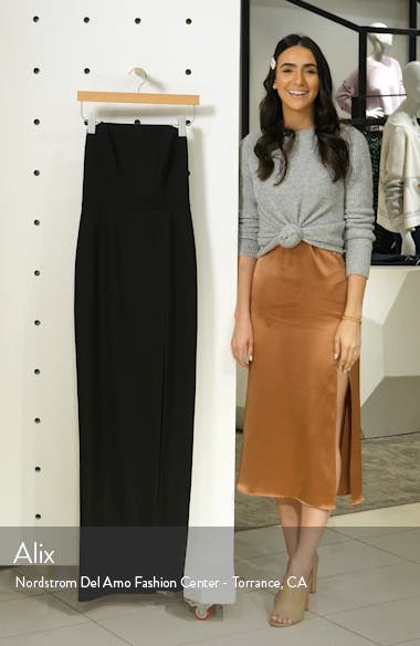 The Mila Strapless Slit Column Gown, sales video thumbnail