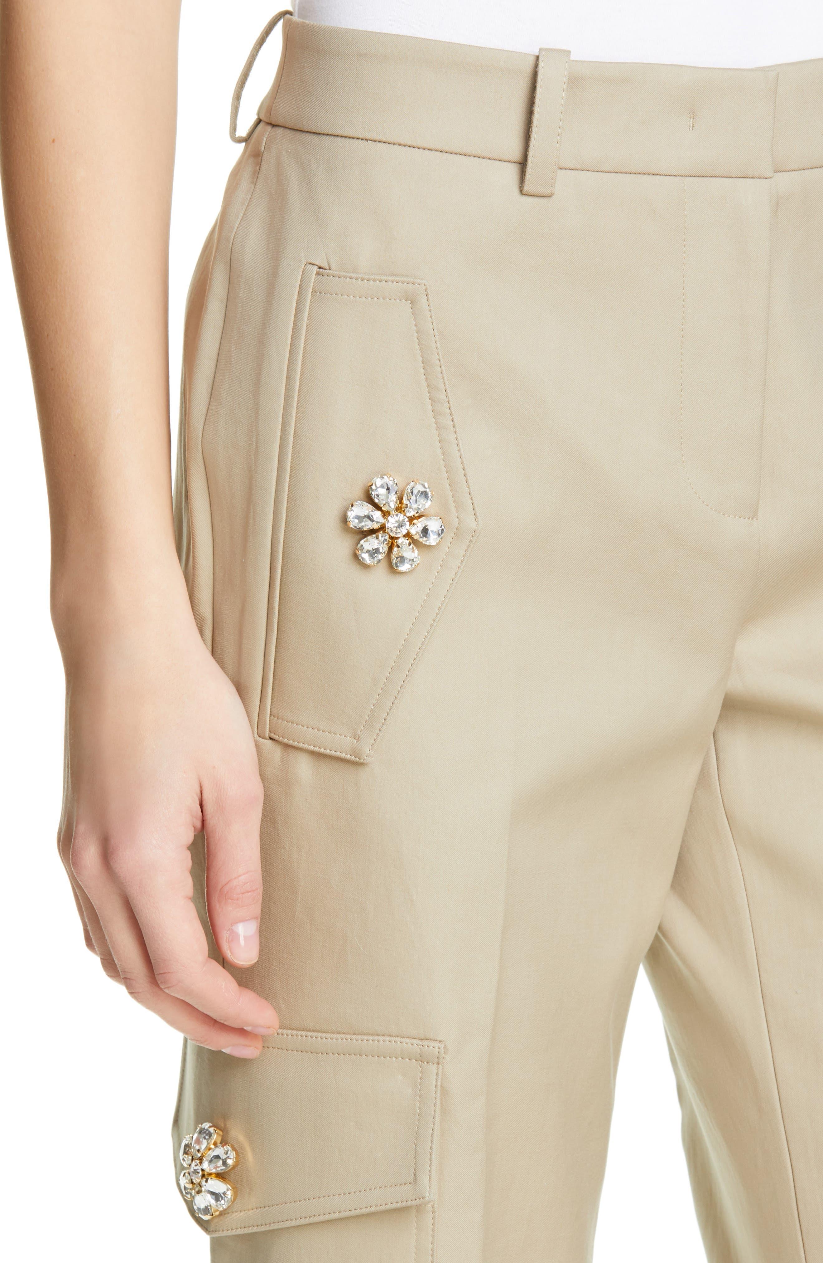 ,                             Embellished Crop Cargo Pants,                             Alternate thumbnail 4, color,                             SAND