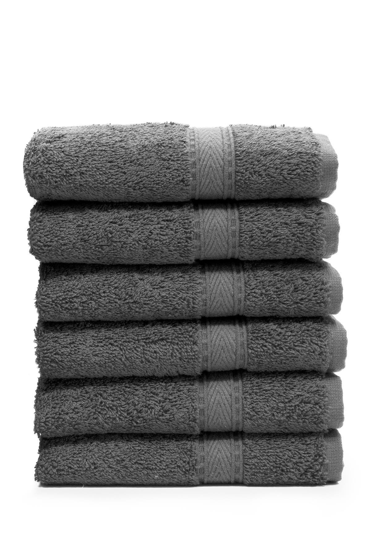 Image of LINUM HOME Sinemis Terry Washcloths - Set of 6 - Dark Grey