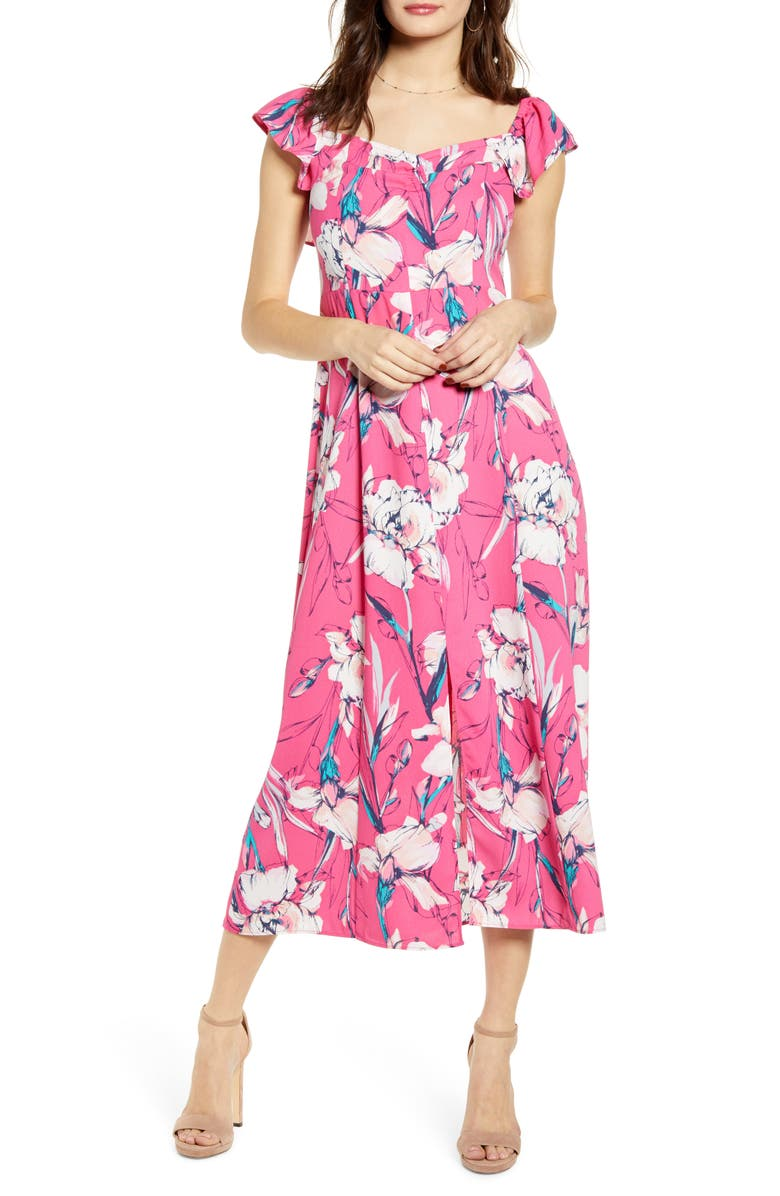 Floral Flounce Detail Dress by Leith