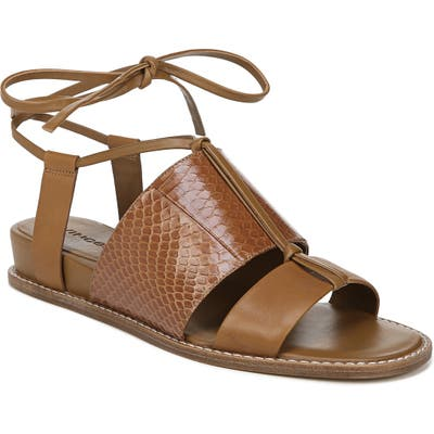 Vince Forster Strappy Ankle Wrap Sandal- Brown