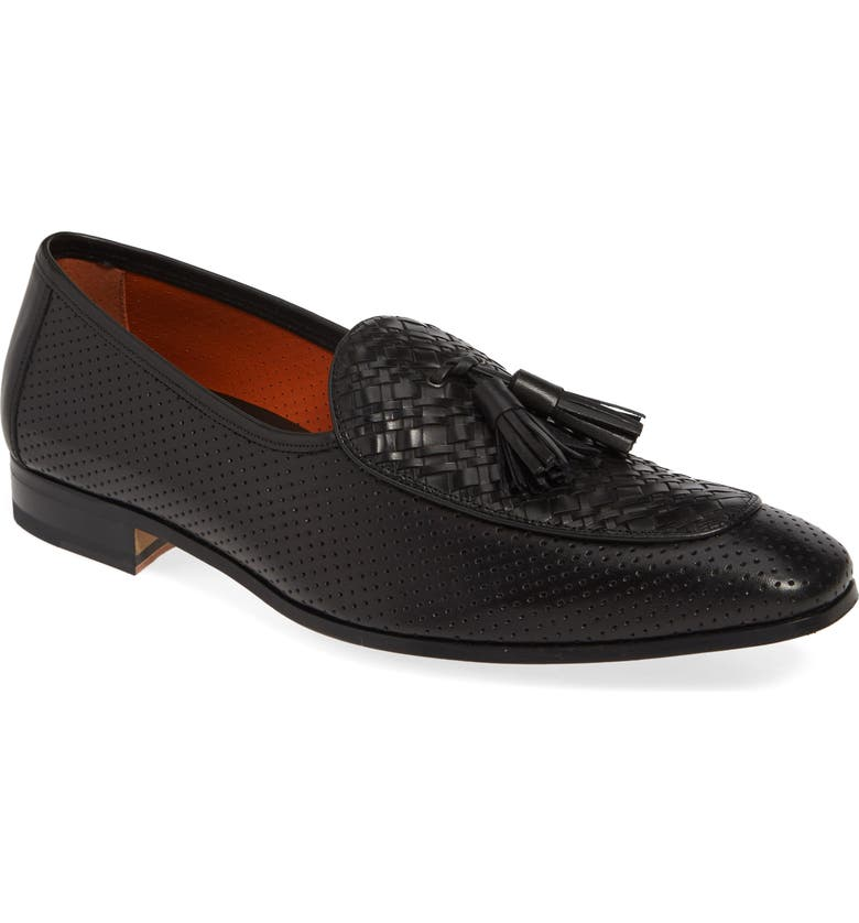 MEZLAN Rubini Tassel Loafer, Main, color, BLACK LEATHER
