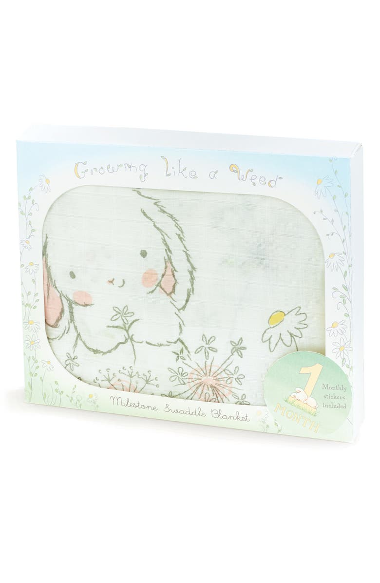 BUNNIES BY THE BAY Growing Like a Weed Milestone Blanket, Main, color, WHITE