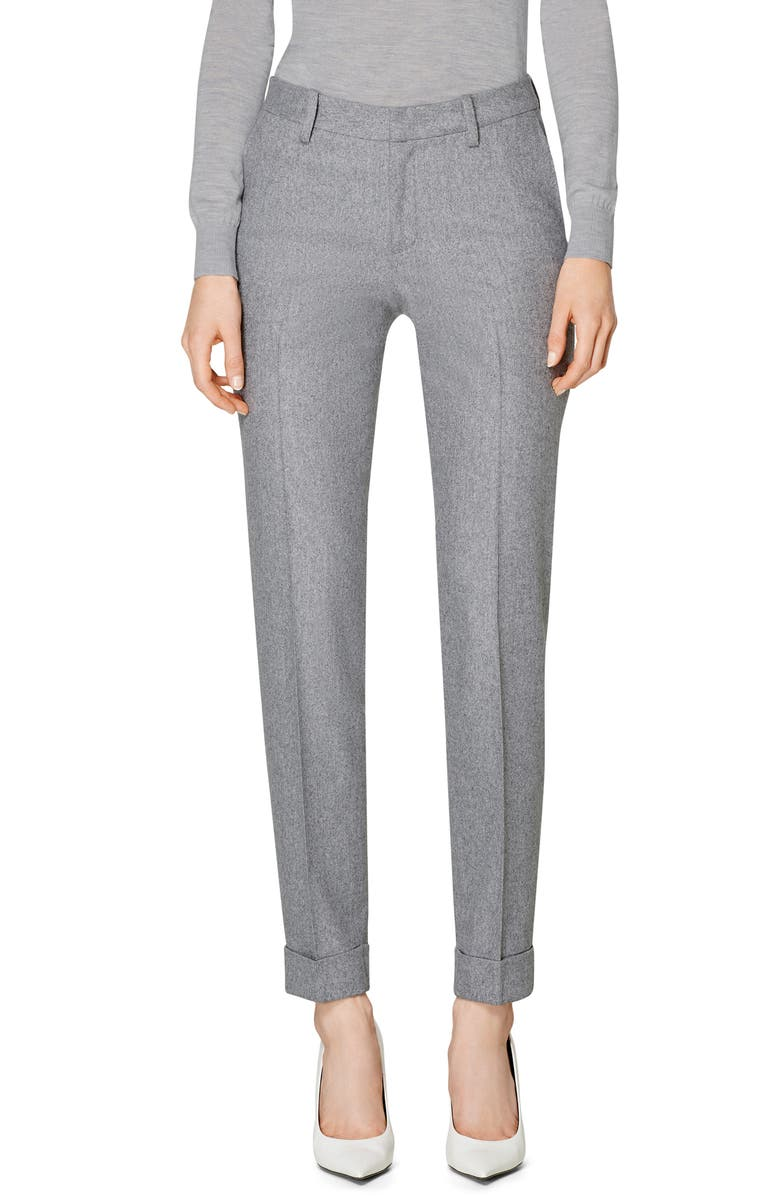 SUISTUDIO Robin Cuff Wool Trousers, Main, color, LIGHT GREY