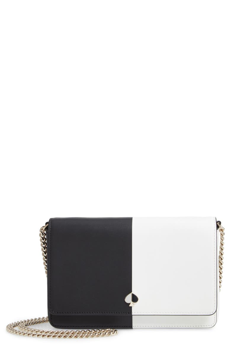 KATE SPADE NEW YORK nicola colorblock leather wallet on a chain, Main, color, BLACK/ OPTIC WHITE