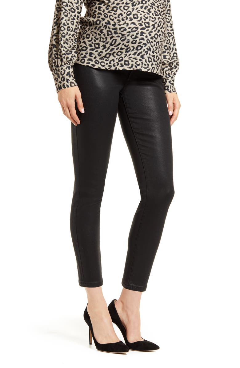 7 FOR ALL MANKIND<SUP>®</SUP> b(air) Coated Ankle Skinny Maternity Jeans, Main, color, BAIR COATED BLACK
