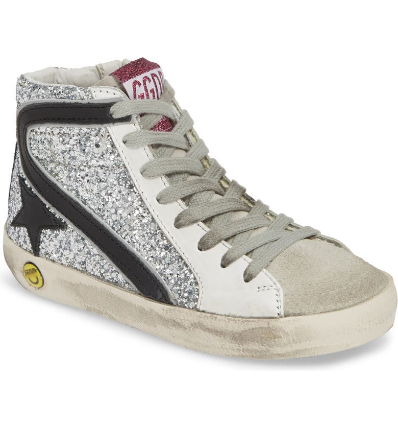 GOLDEN GOOSE Slide Glitter High Top Sneaker, Main, color, 040