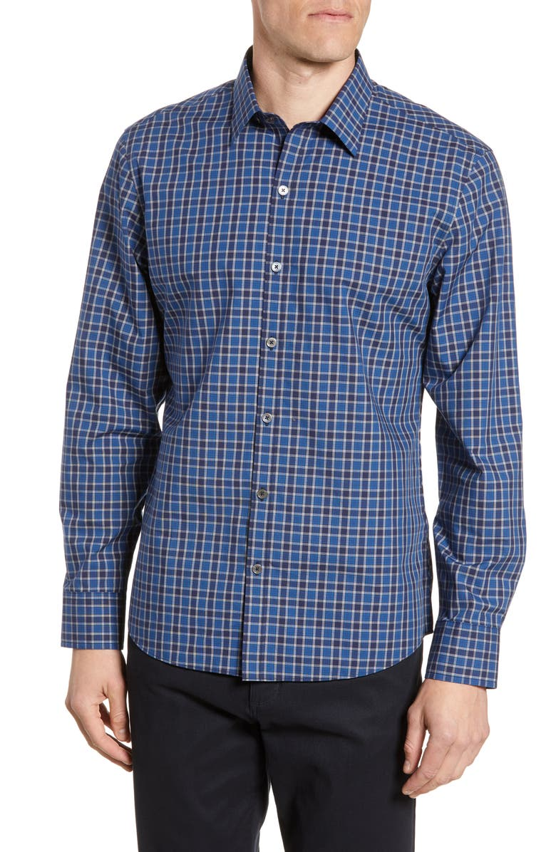 ZACHARY PRELL Abdul Regular Fit Plaid Button-Up Shirt, Main, color, NAVY