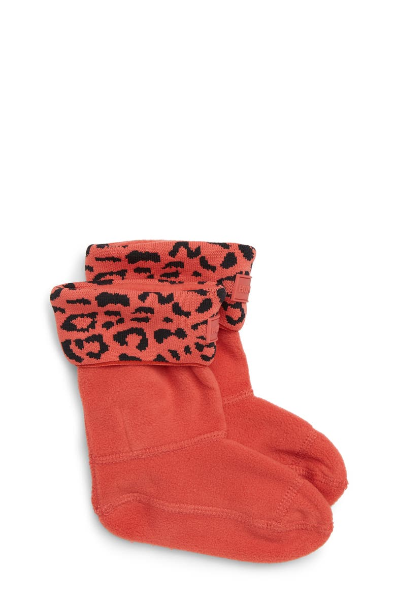 HUNTER Snow Leopard Cuffed Boot Socks, Main, color, HONEYSUCKLE LEOPARD JACQUARD