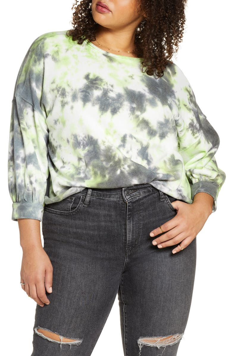 BP. Tie Dye Crewneck Sweatshirt, Main, color, GREEN PUNCH TIE DYE