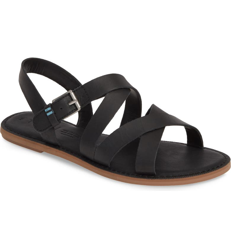 TOMS Sicily Flat Sandal, Main, color, BLACK LEATHER